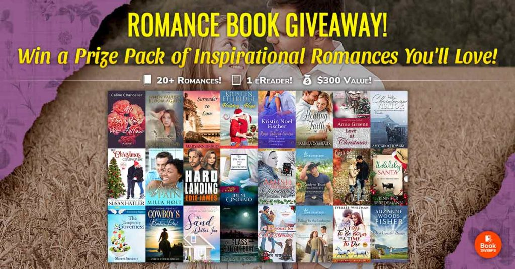 Graphic advertising giveaway with over 20 book covers